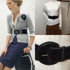 Thick stretch band patent leather buckle belt!